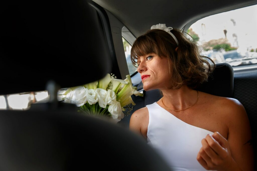 the bride in the car before the wedding ceremony in sicily
