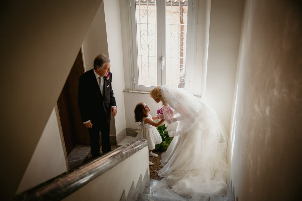 the bride leaves the house with her father