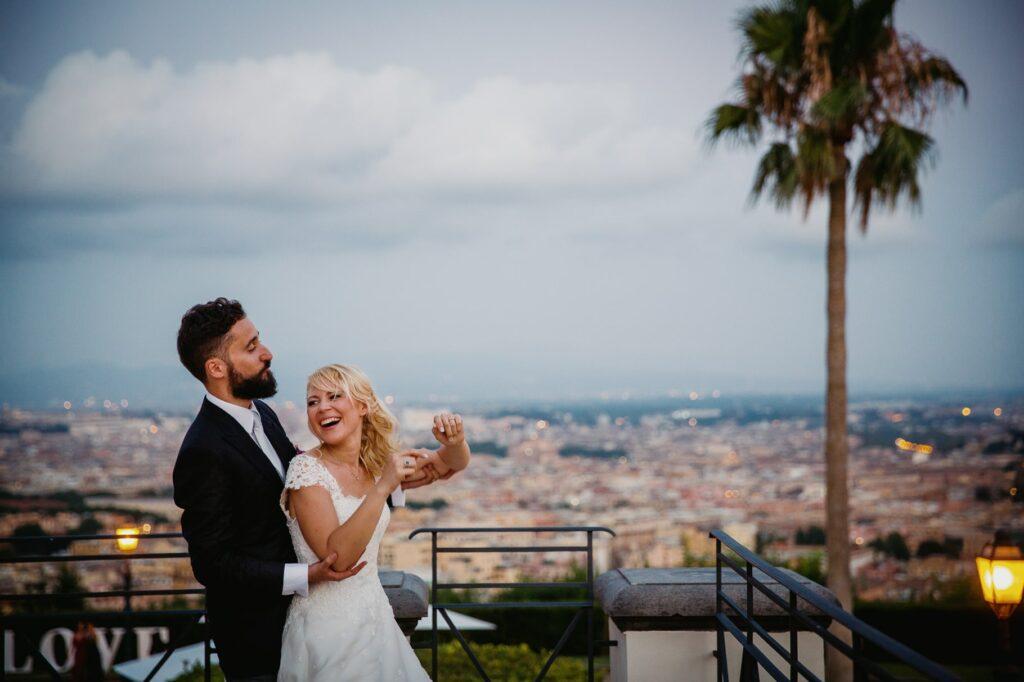 happy newlyweds at villa miani