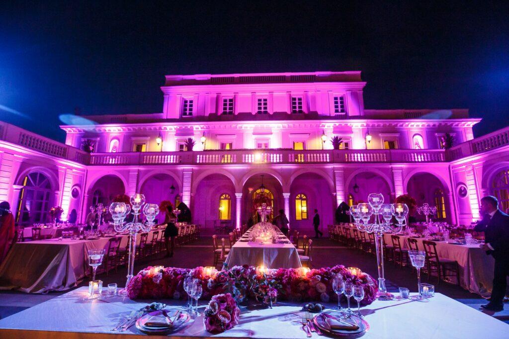 wedding dinner hall set up in villa miani