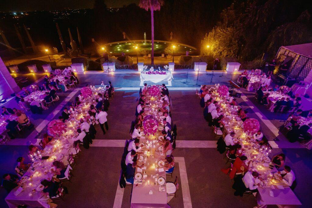 wedding table set in villa miani