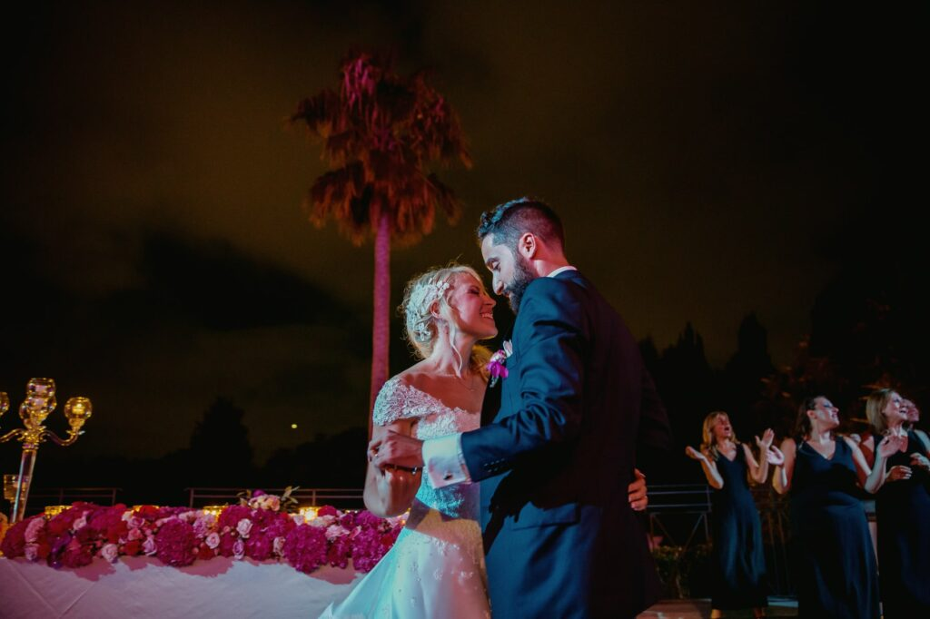 bride and groom first dance in a photo captured by villa miani wedding photographer