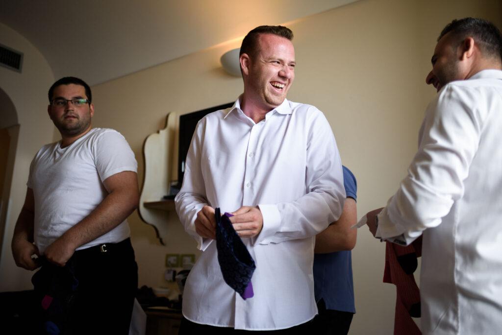 groom with witnesses during the preparation for rada positano amalfi coast wedding