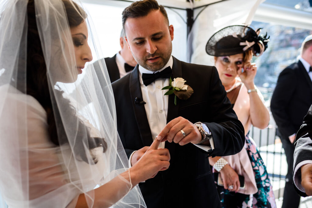 exchange of wedding rings at rada positano amalfi coast wedding