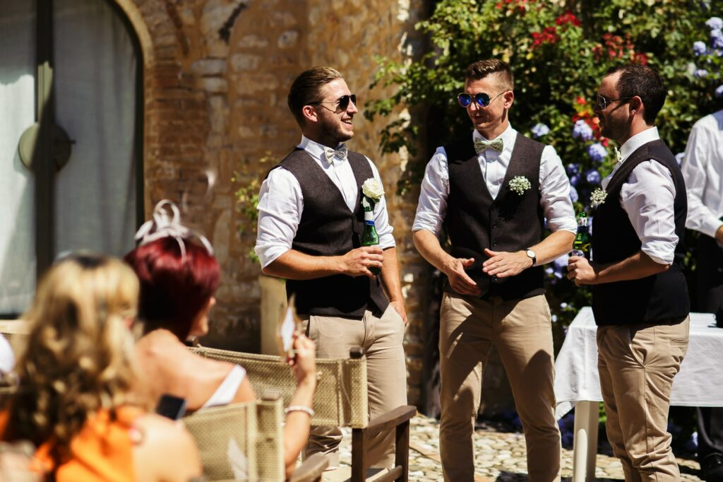 groom with best men waiting for the bride to start the umbria destination wedding