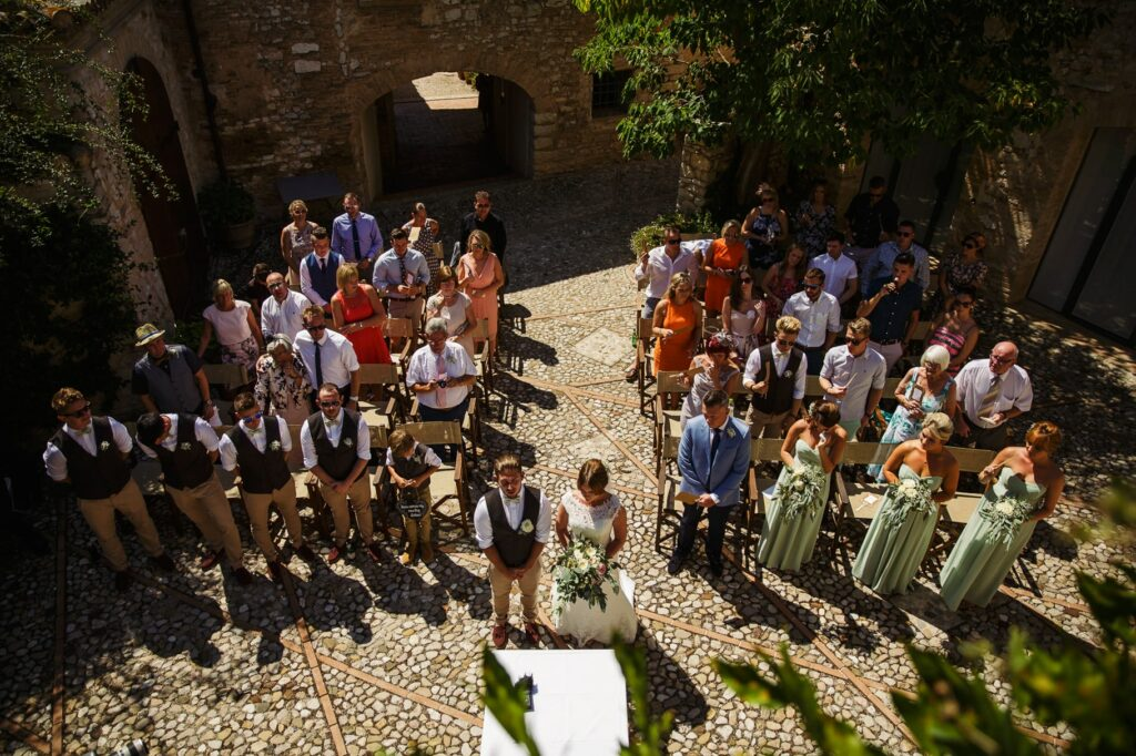 a panoramic view with the guests during the wedding ceremony