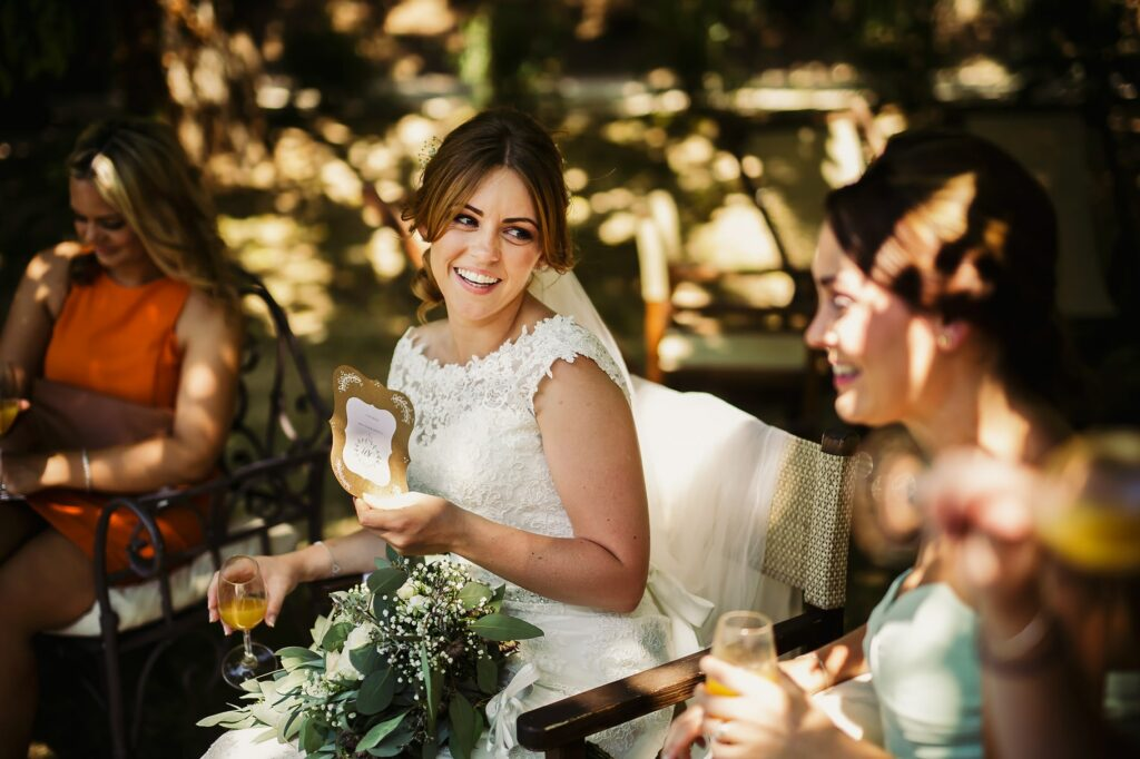 bride having good time with friends during aperitifs
