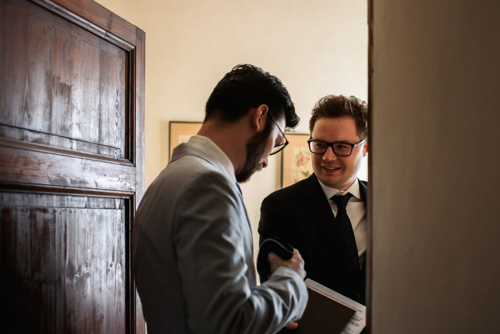 groom with best man shot by tuscany wedding photographer