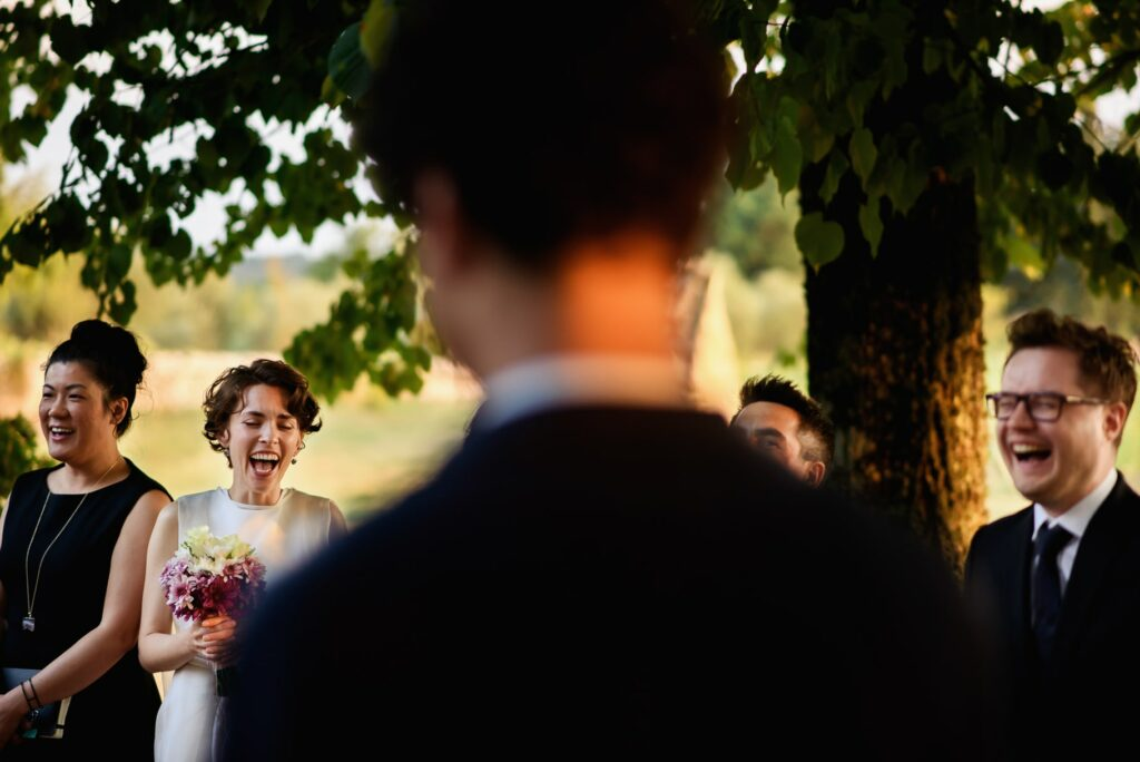 the bride and groom during the outdoor civil ceremony