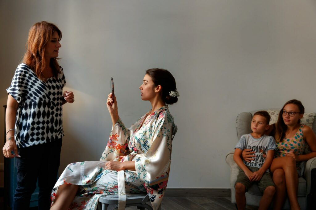 preparation and make-up of the bride for the wedding at villa miani