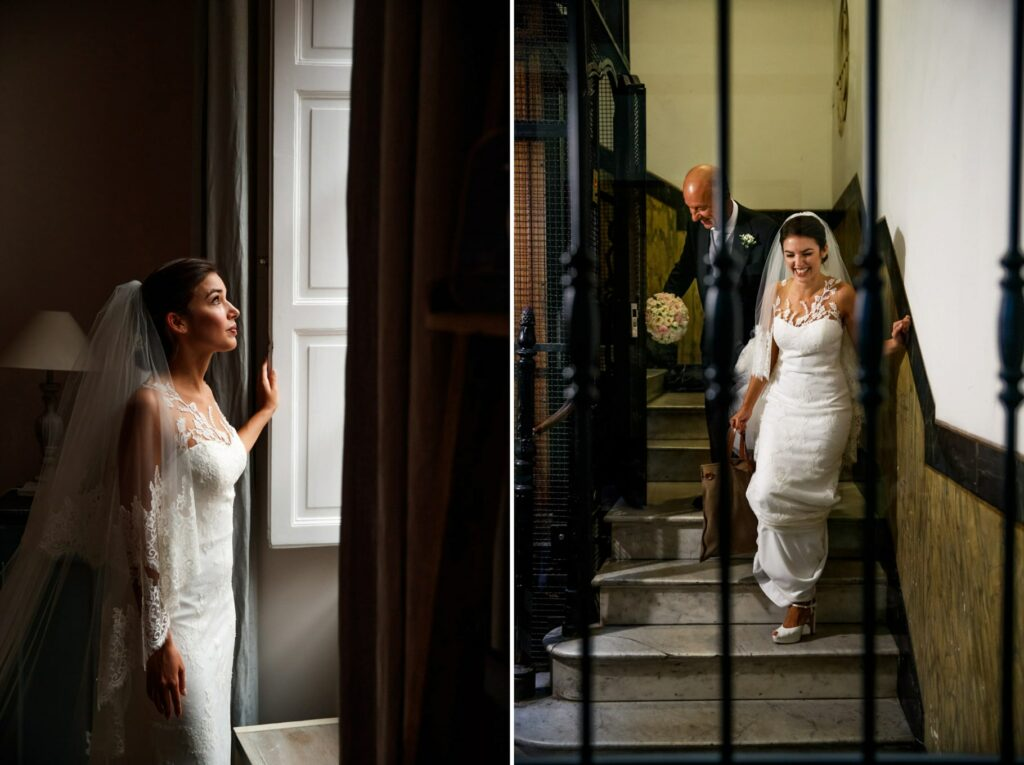 the bride leaves the house with her father to go to the wedding at villa miani