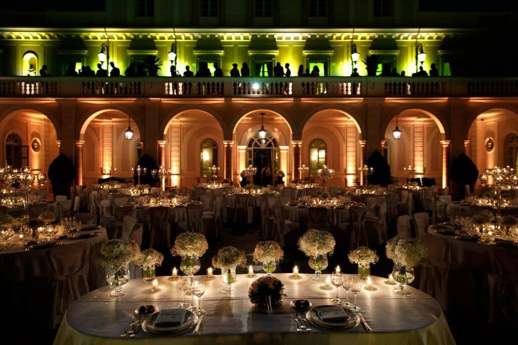 wedding tables set up in villa miani