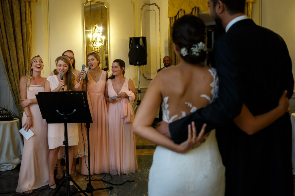 bridesmaid speech to the bride and groom at the wedding at villa miani