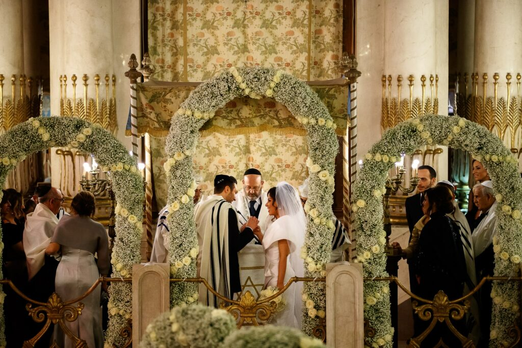 rite of the ring in the jewish wedding in the synagogue of Rome