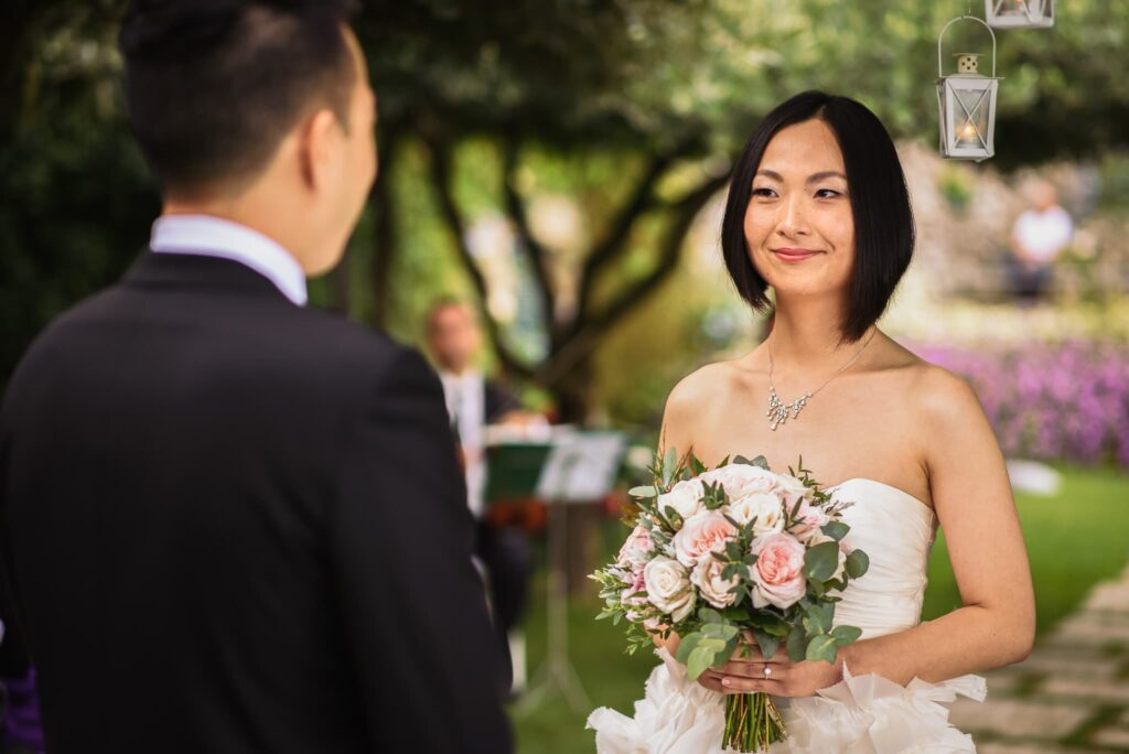 exchange of vows betweengroom and bride wedding at  hotel caruso in ravello