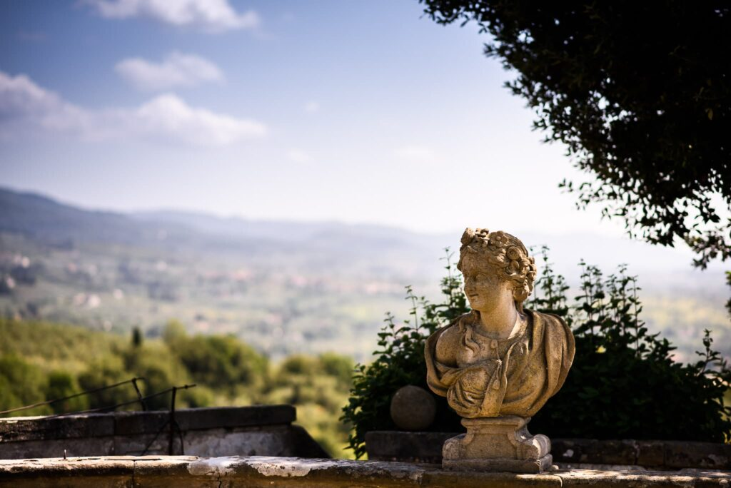 marble bust in villa gamberaia florence