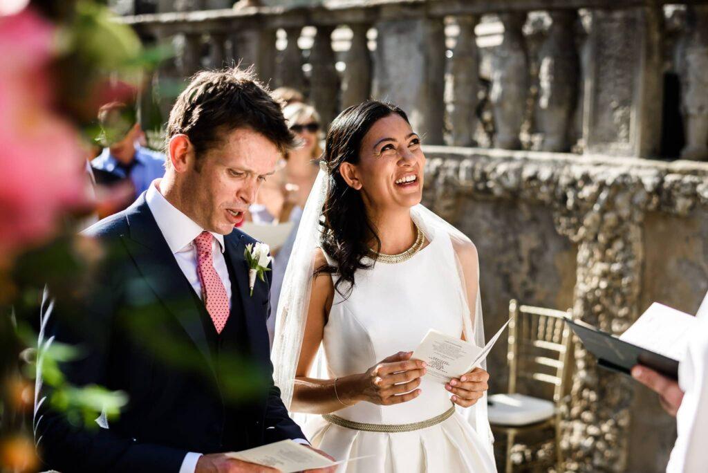 bride and groom at wedding ceremony in villa gamberaia