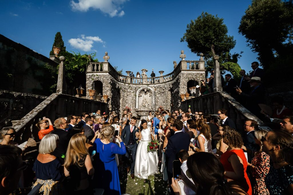 wedding aisle with spouses and guests