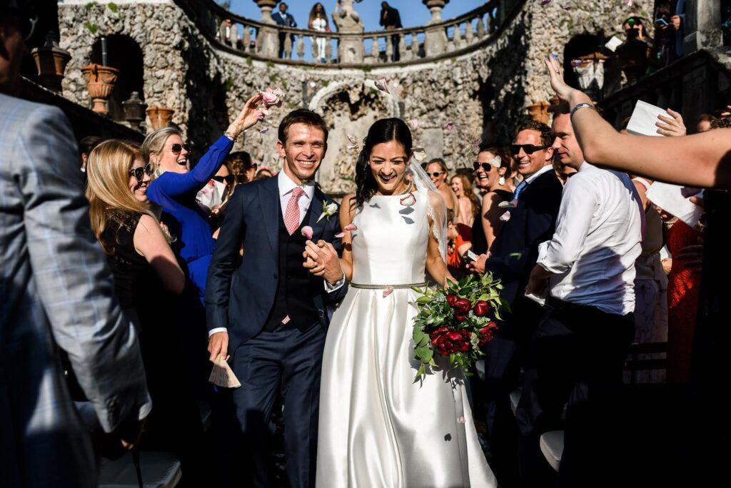confetti shower at the end of wedding in villa gamberaia