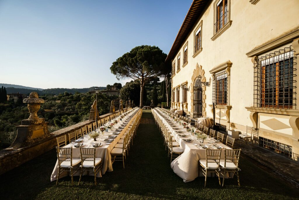 imperial tables set up at wedding in villa gamberaia