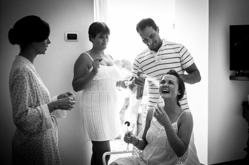 joyful moment during bride preparation shot by ravello wedding photographer
