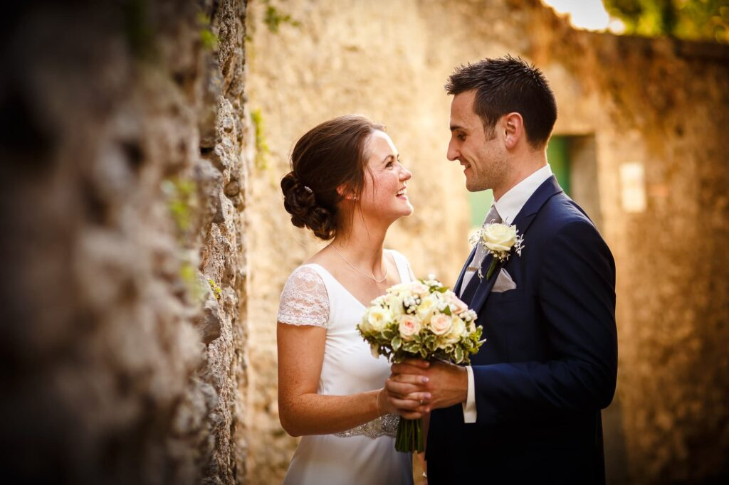 portrait of a married couple in the alleys of ravello shot by ravello wedding photographer