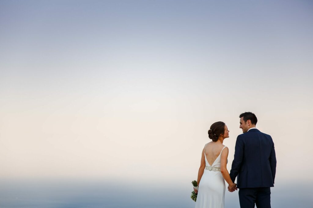 portrait photo of the couple made by the ravello wedding photographer