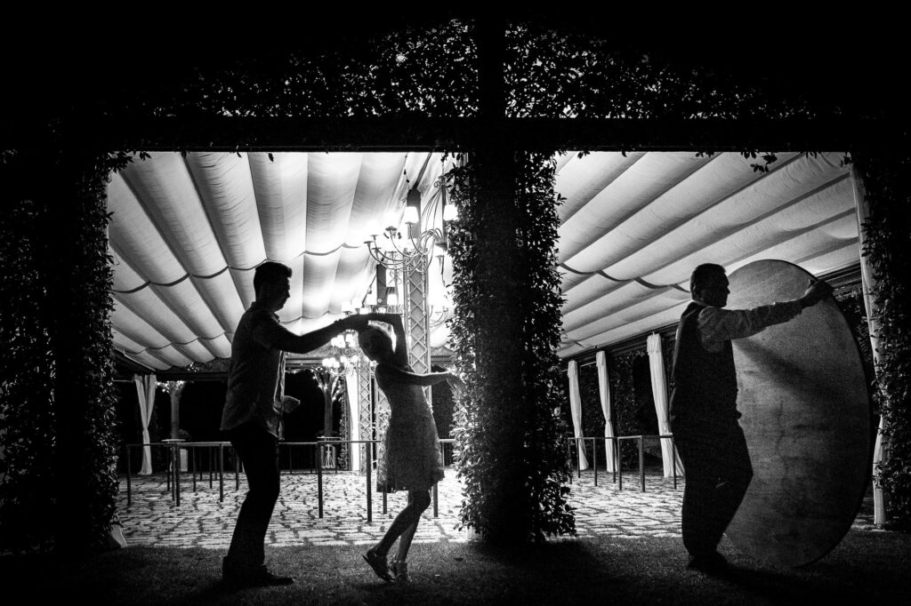 kids playing and dancing at villa eva at the end of the wedding day