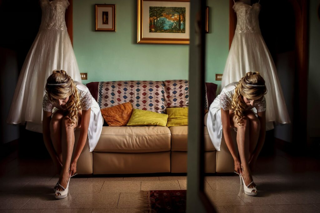 bride wearing shoes for relaxed summer wedding in rome