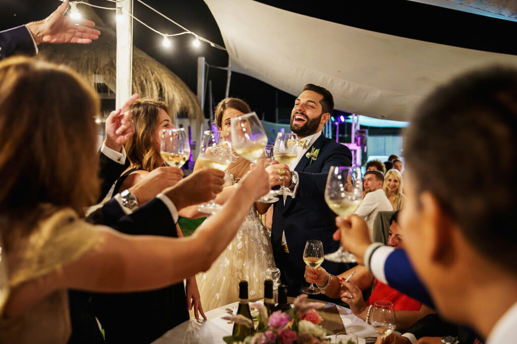 the bride and groom toast with the wedding guests