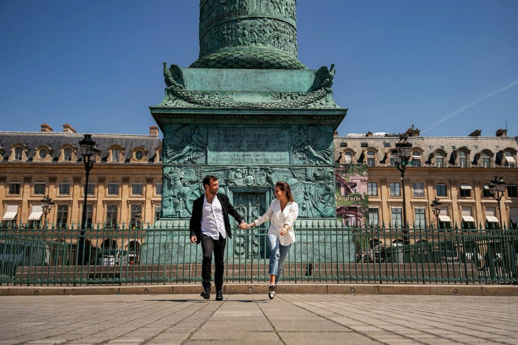 engaged couple in place de la concorde after their wedding in paris