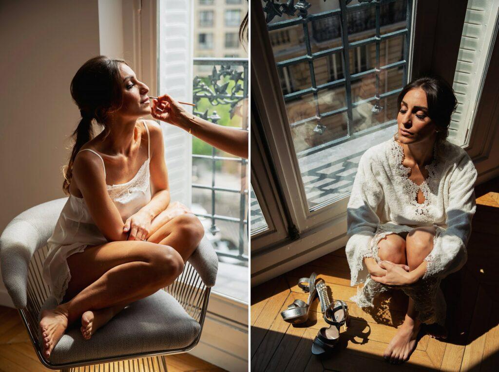 bride make-up in an elegant apartment in paris