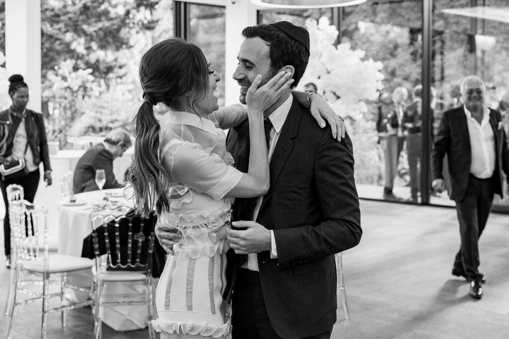 newlyweds first dance during the wedding in paris