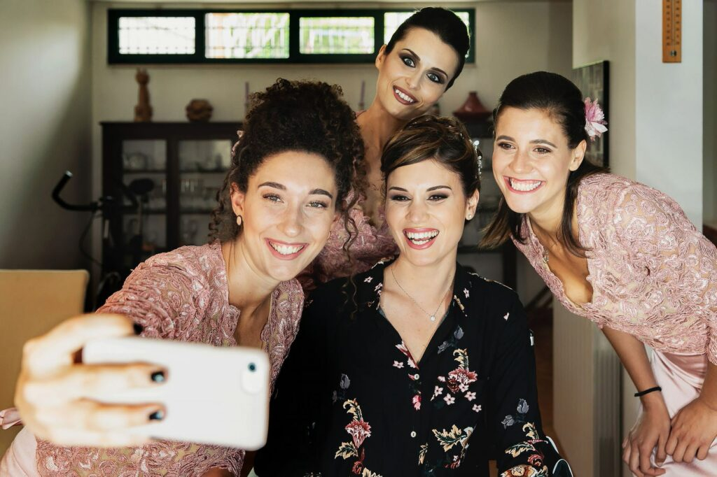 group selfie of the bride with the bridesmaid