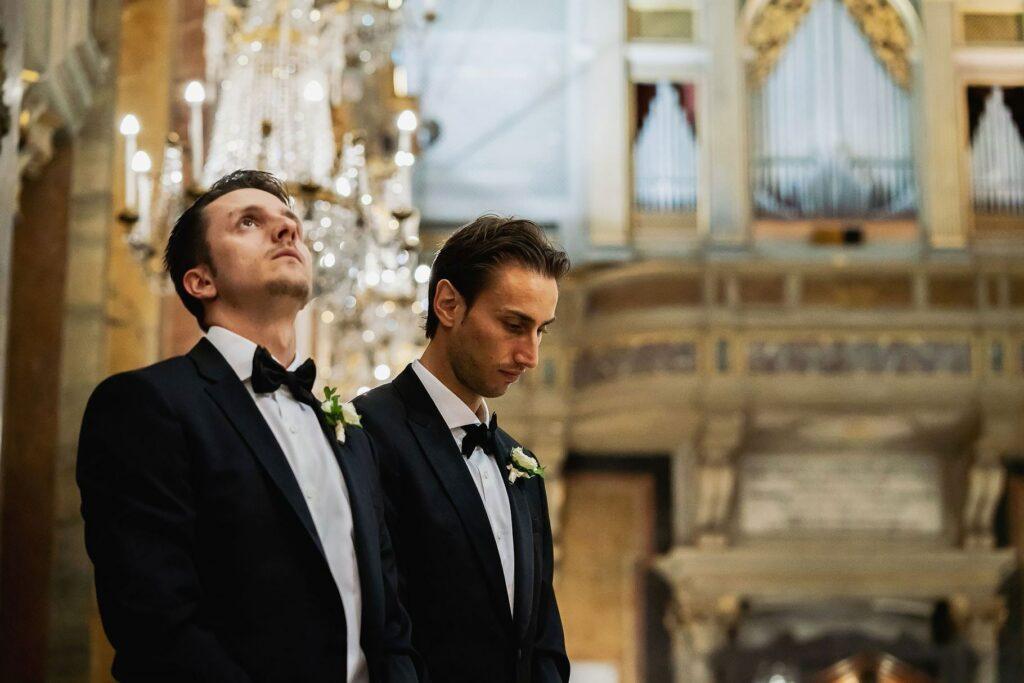 groom best men during the wedding of lorenzo pellegrini