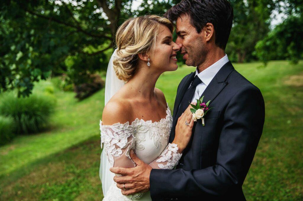 bride and groom portrait in the park of Tenuta San Liberato
