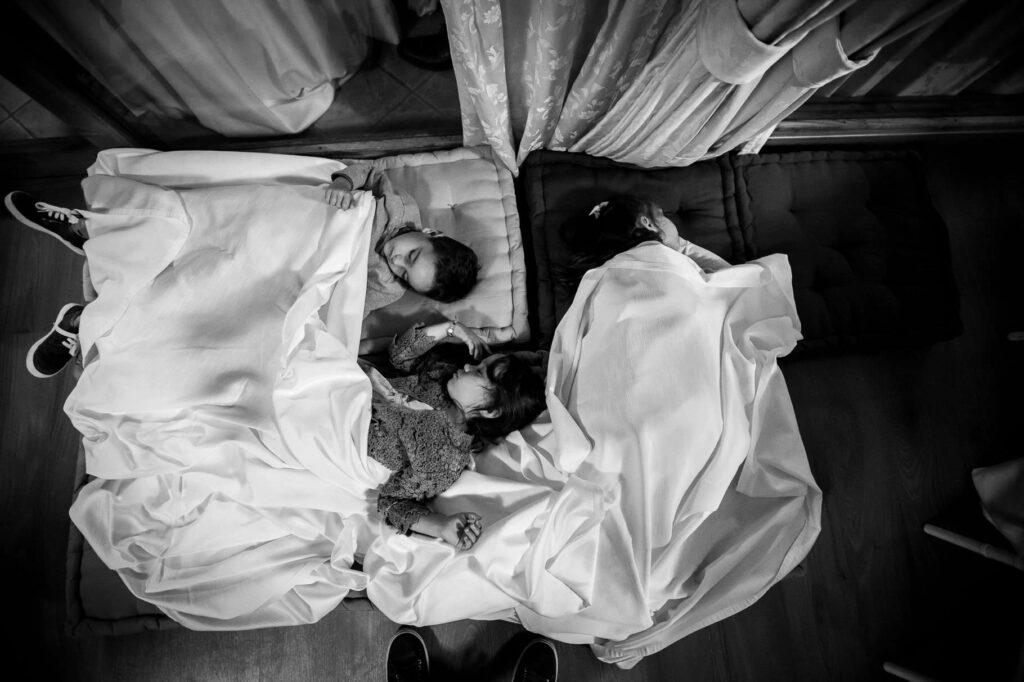 children sleeping at the end of kledi kadiu wedding
