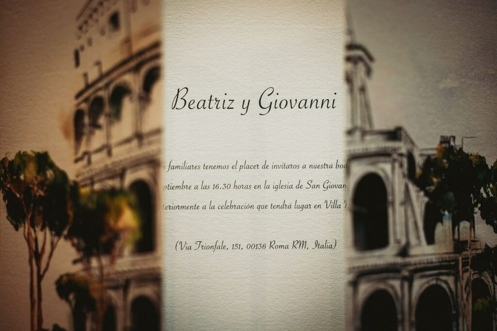detail of the wedding invitation card to spanish-italian wedding at villa miani