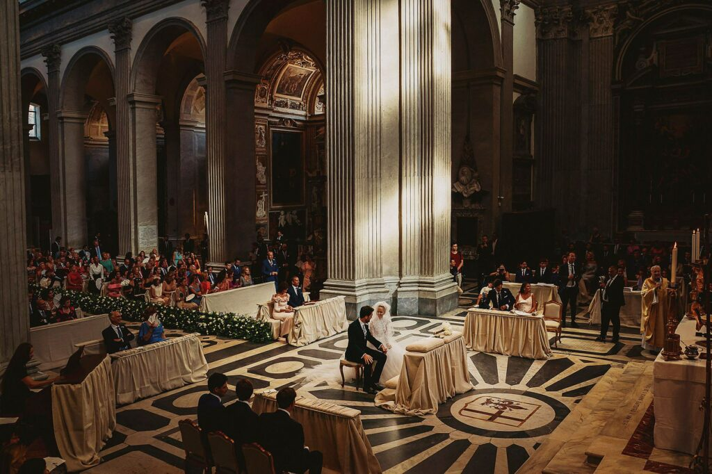 top view of the church san giovanni dei fiorentini during the spanish-italian wedding