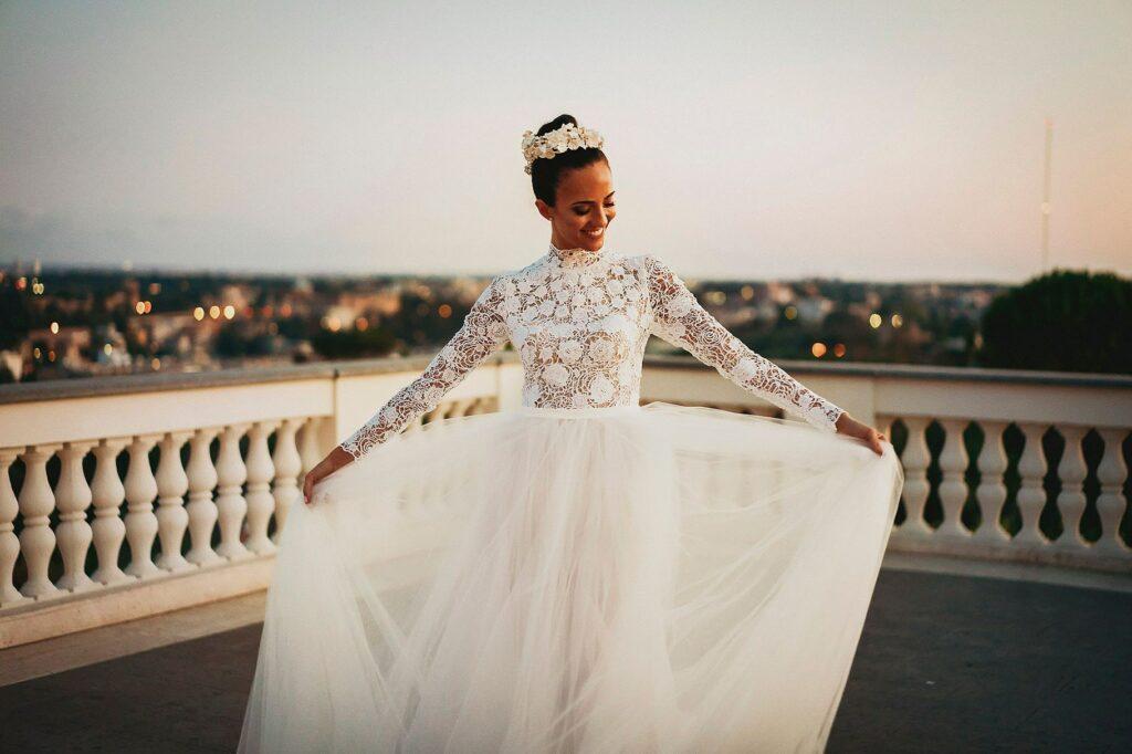 the bride on a terrace in Rome at the spanish-italian wedding at Villa Miani