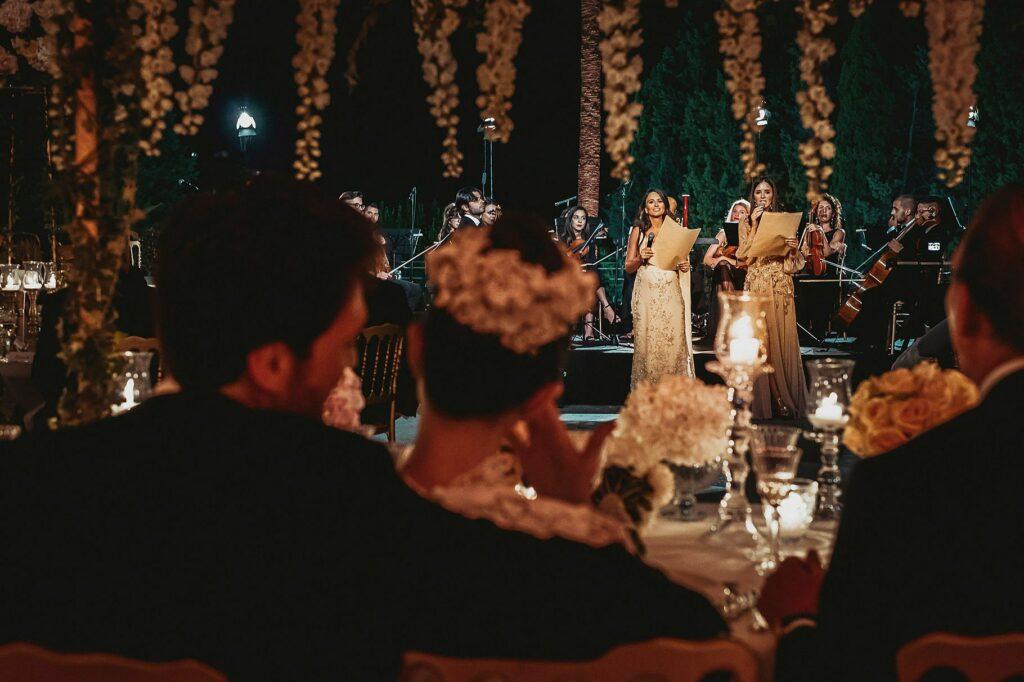 bridesmaid speech during the wedding reception in villa miani